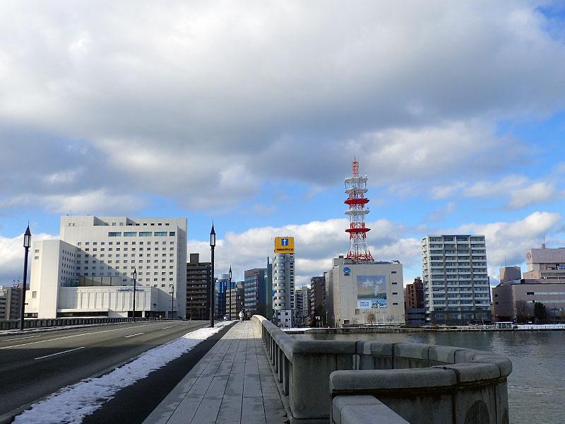 萬代橋から新潟島方面を見る