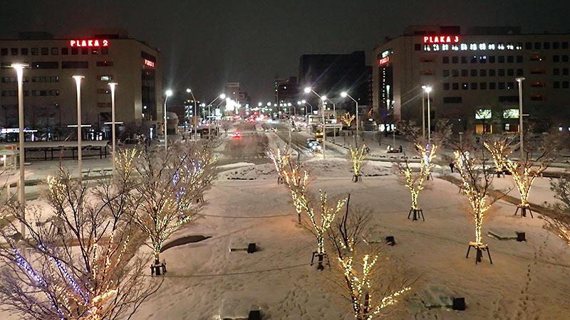 雪景色の新潟駅南口広場